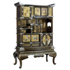 19th Century Japanese Black and Gold Lacquered Display Cabinet