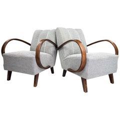 Jindrich Halabala Re-Upholstered Bentwood Armchairs, 1940s Czech Republic