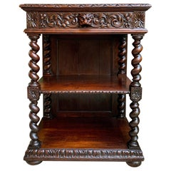 Antique French Carved Oak Petite Bookcase Server Barley Twist Display Louis XIII