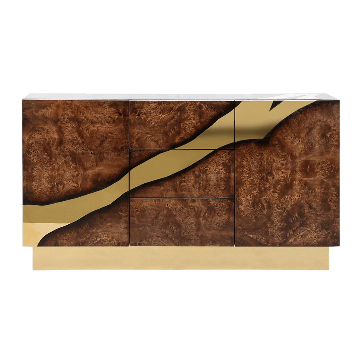 Contemporary Large Storage Wooden Sideboard with Brass Accents