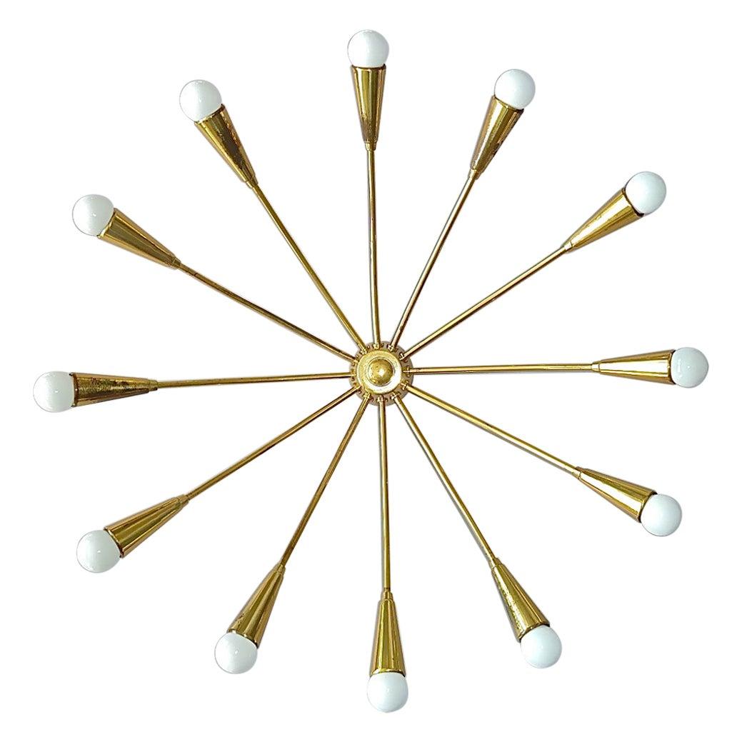 Large Midcentury Sputnik Flush Mount Brass Ceiling Lamp Kaiser Kalmar Stilnovo