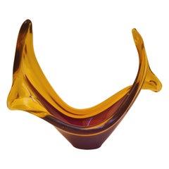 Mid-Century Murano Glass Selenium Bowl, Antonio Da Ros