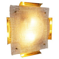 Large Murano and Brass Sconce, Italy, 1960s