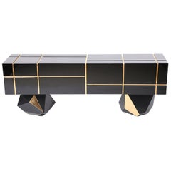 High Gloss Black Credenza with Drawers and Large Storage Showroom Sample