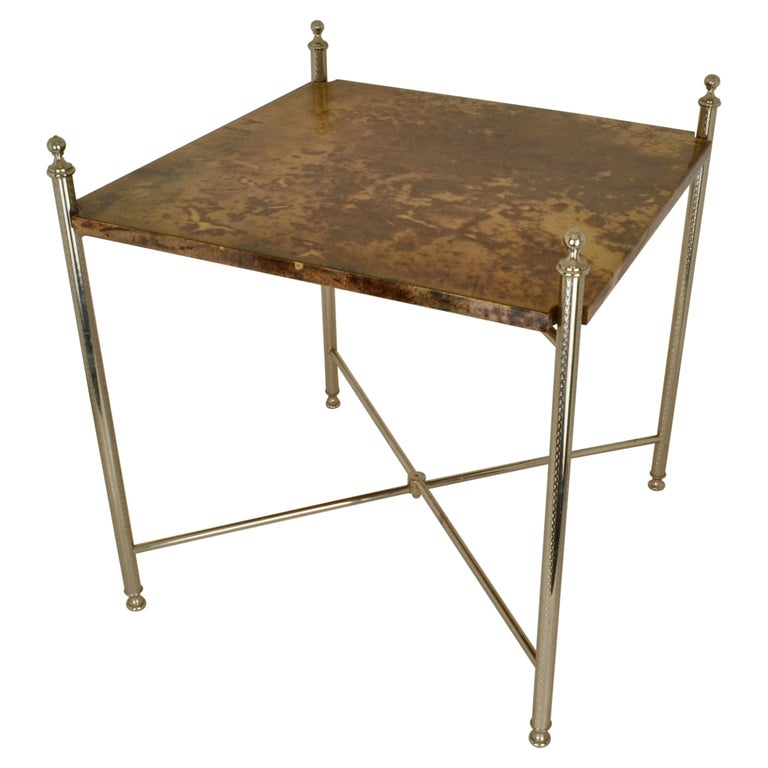Aldo Tura Parchment Side Table on Chrome Legs For Sale