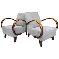Art Deco Jindrich Halabala Re-Upholstered Bentwood Armchairs, Praque 1940s