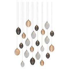 Cocoon 22, Blown Glass Pendant Dining Room Chandelier by Shakuff