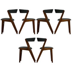 Set 6 Danish Modern Dining Chairs by Kai Kristiansen Model T21