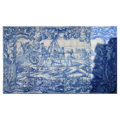 "18th Century Portuguese "" Azulejos "" Panel ""Battle Scene"""