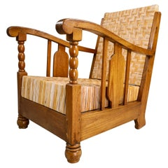 British Colonial Rattan And Wood Art Deco Lounge Chair, India 1920s