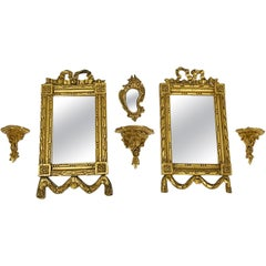 Miniature Gilt Wood Mirror and Console Set