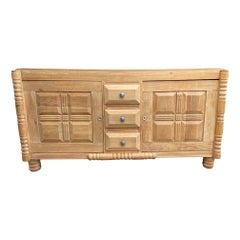 Art Deco Natural Oak Sideboard by Gaston Poisson with Geometric Design