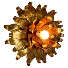 1960s Large Toleware Italian Gilt Flower Light