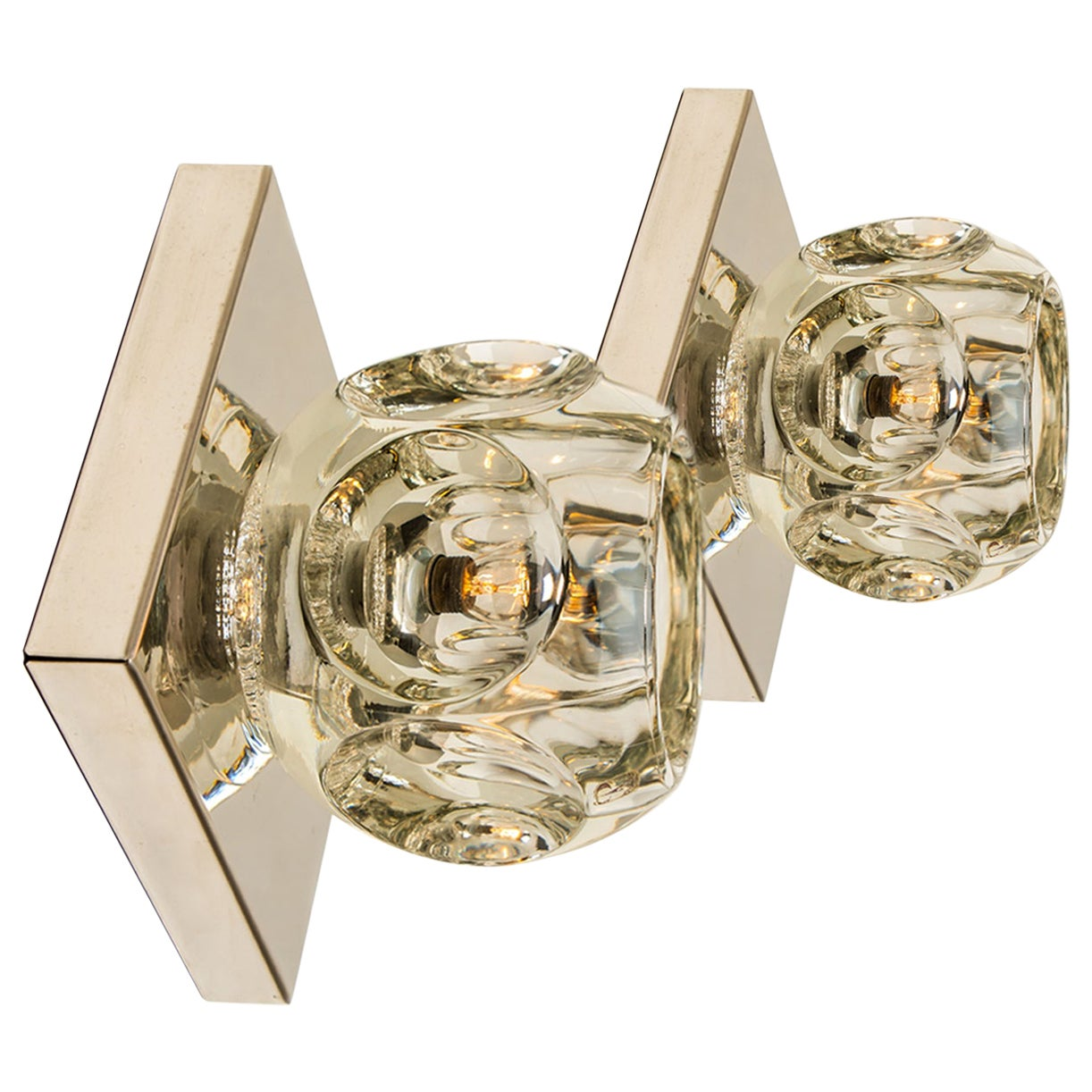 Pair of Glass Chrome Wall Sconces Flush Mounts Cosack Lights, Germany, 1970s
