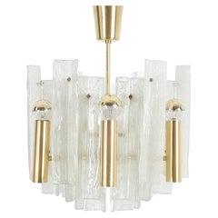 Kalmar Chandelier Semi Flush Mounts Pair Lipizza Glass Lamps, Austria