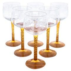 Set of Six Glass Wine Glasses, 1950s / 1960s