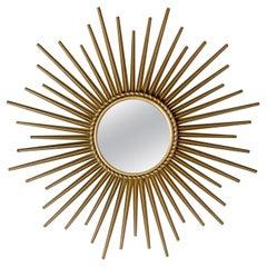 Chaty Vallauris 1950's Sunburst Convex Mirror