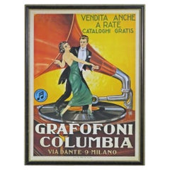 Vintage Italian Columbia Graphanola Milano Poster Advertising Framed