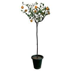 Italian Hand Painted Iron Tole Orange Tree, 1950's