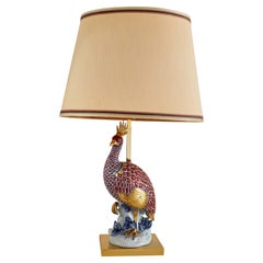 Italian Midcentury Table Lamp with Ceramic Peacock by Capodimonte, Italy 1970s