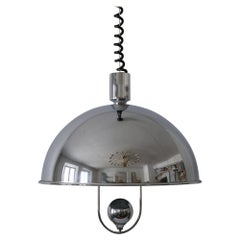 Mid-Century Modern Nickel-Plated Brass Pendant Lamp by Florian Schulz, 1970s