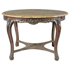 Antique French Louis XV Carved Walnut Marble Top Center Dining Breakfast Table