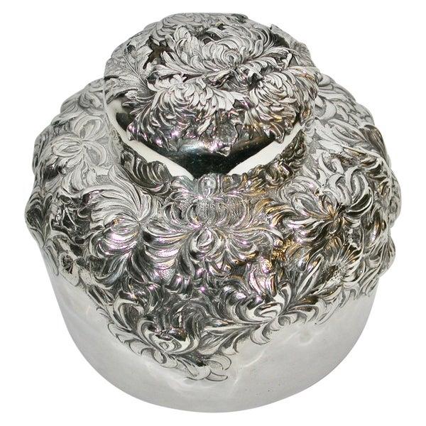Aesthetic Japonesque Sterling Silver Chrysanthemum Tea Caddy, C.1890, New York