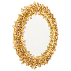 Spectacular Backlit Mirror Gilded Brass and Crystal Glass by Palwa, Germany