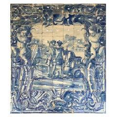 "18th Century Portuguese ""Azulejos"" Panel ""Battle Scene"""