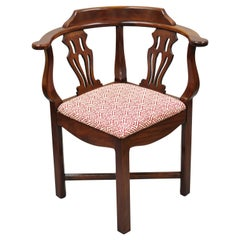 Statesville Ross Vintage Mahogany Georgian Chippendale Style Corner Chair