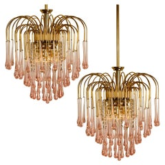 Venini Style Chandelier with Murano Pick Glass, Italy, 1970s
