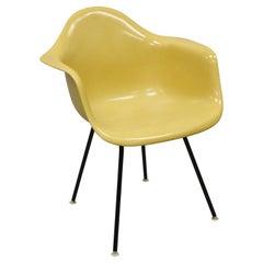 Herman Miller Mustard Yellow Fiberglass Shell H-Base Arm Chair Mid Century MCM