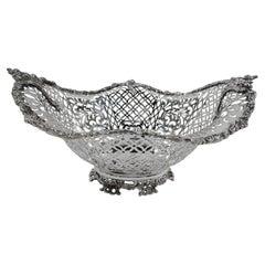 Antique English Edwardian Pierced Sterling Silver Bowl