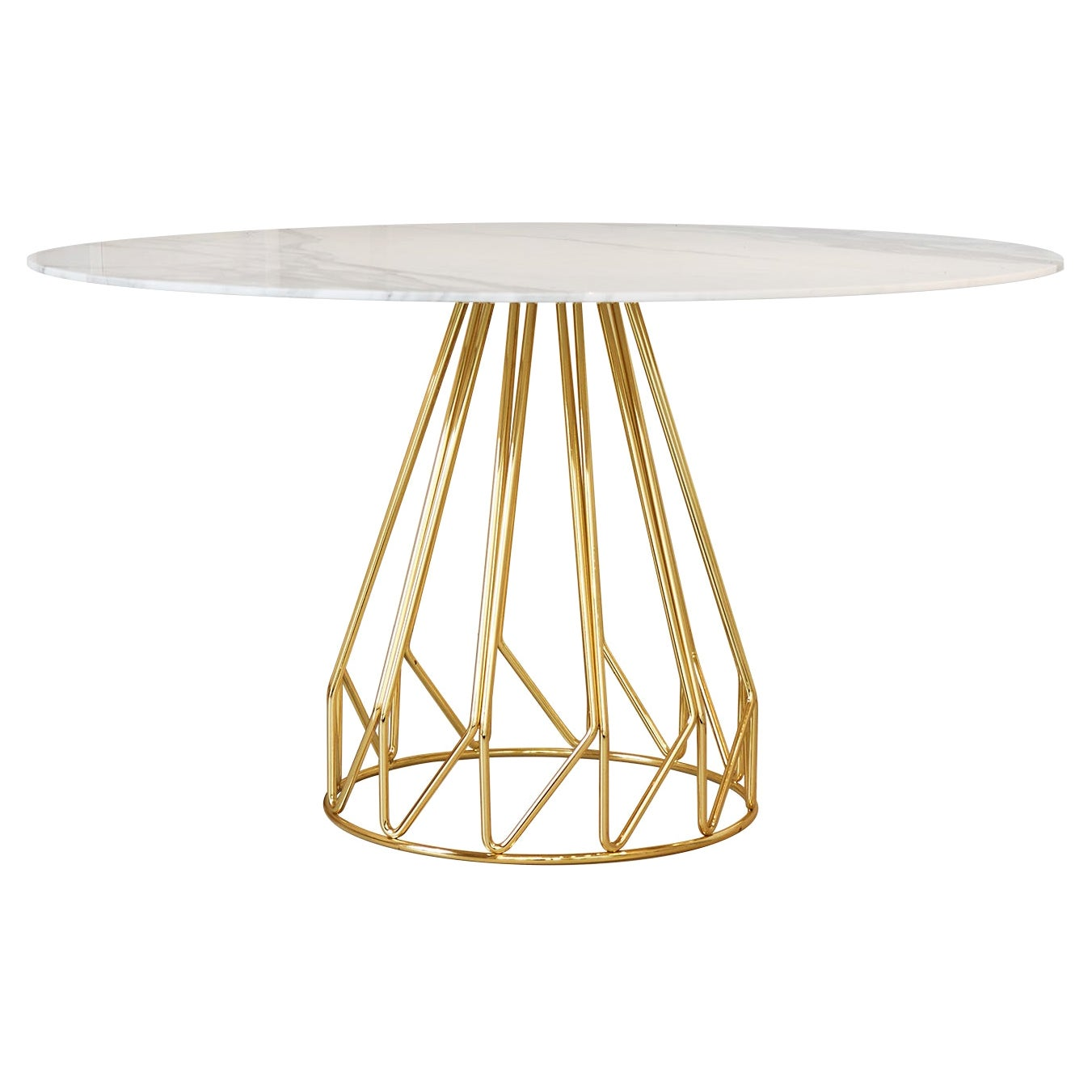 Contemporary Minimalist Table Gold, Carrara Calacatta Made in Italy by LapiegaWD
