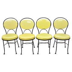 Gallo Iron Works Wrought Iron Yellow Vinyl Modern Bistro Dining Chair, Set of 4