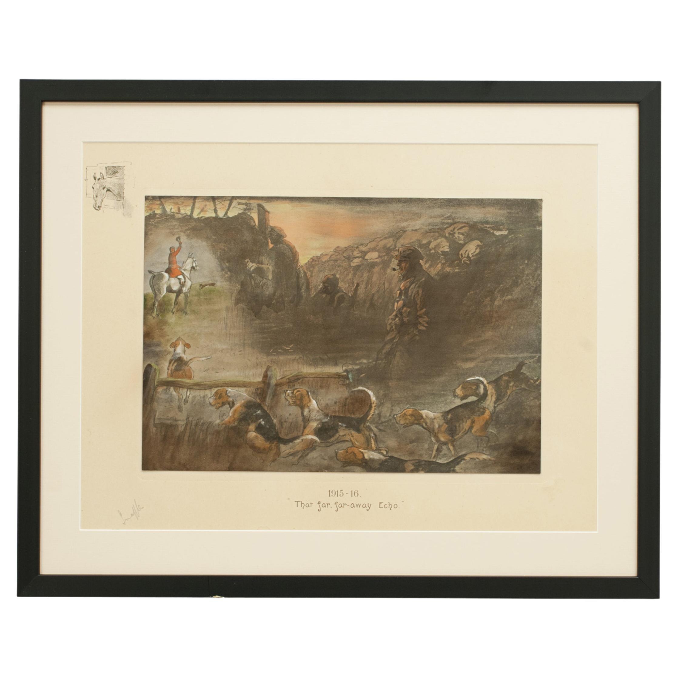 Signed WWI Military Print, That Far, Far-away Echo by Snaffles