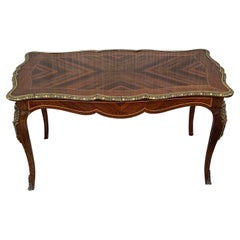 French Marquetry Bronze Ormolu Mounted Coffee Table
