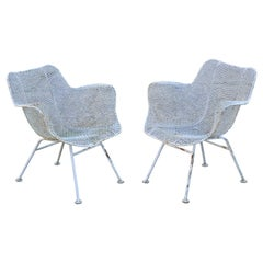 Vintage Russell Woodard Sculptura Metal Wrought Iron Dining Arm Chairs, a Pair