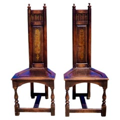 Vintage Gothic Revival Kittenger High Back Altar Chairs, a Pair
