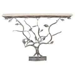 William Switzer French Nouveau Console Table Hand Forged Wrought Iron