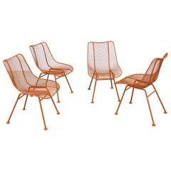 Set of 4 Mid Century Danish Modern Woodard Sculptura Atomic Orange Side Chairs