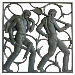 """""""Returning Miners,"""" Rare Art Deco Panel w/ Shirtless Laborers with Pick & Shovel"""
