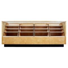 Swedish Art Deco Glazed Birch Haberdashery Display Cabinet