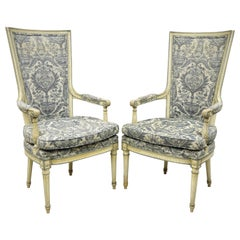 Vintage French Louis XVI Provincial Blue Cream High Back Lounge Chairs, a Pair