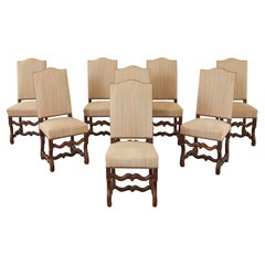 Set of Eight French Walnut Os de Mouton Dining Chairs