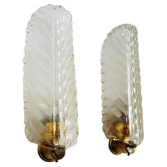 Italian Midcentury Wall Sconces Leaves in Murano Glass and Brass, 1970s