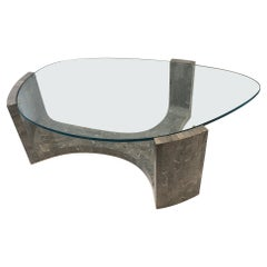 Gray Marble and Glass Cocktail Table by Maitland Smith
