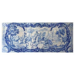 "18th Century Portuguese ""Azulejos "" Panel ""Hunting Scene"""