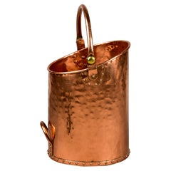 Early 20th C English Heavy Gauge Hammered Copper Coal Scuttle Bucket