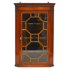 English Regency Satinwood Inlaid Mahogany Miniature Corner Cabinet, Circa 1880